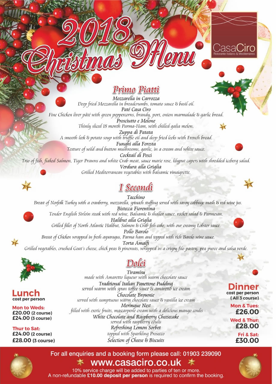 Christmas Menu.Casa Ciro Restaurant